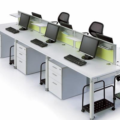 6人办公屏风桌 钢木结构办公台 东莞华凯家具